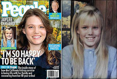 18 ÅR ETTER: Jaycee Lee Dugard står frem i fredagens utgave av People Magazine. Bildene av henne er de første som er publisert siden hun ble bortført for 18 år siden. Foto: Skjermdump fra People.com/AP