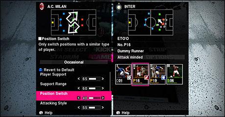 MER KONTROLL: «Pro Evolution Soccer 2010» har innført et nytt system med skalaer hvor man kan spesialisere spillestilen til laget sitt. Foto: KONAMI