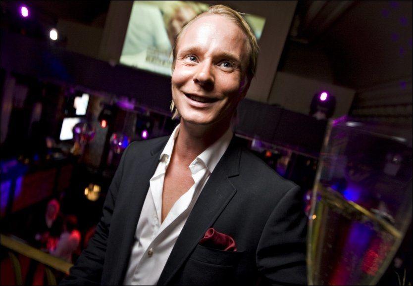 GLADGUTT: Petter Pilgaard var i godt humør på seierfesten til «Paradise Hotel». Foto: Eivind Griffith Brænde/VG