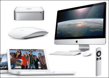 "Ny iMac, Mac mini, MacBook og ""magisk"" mus. Foto: Apple"