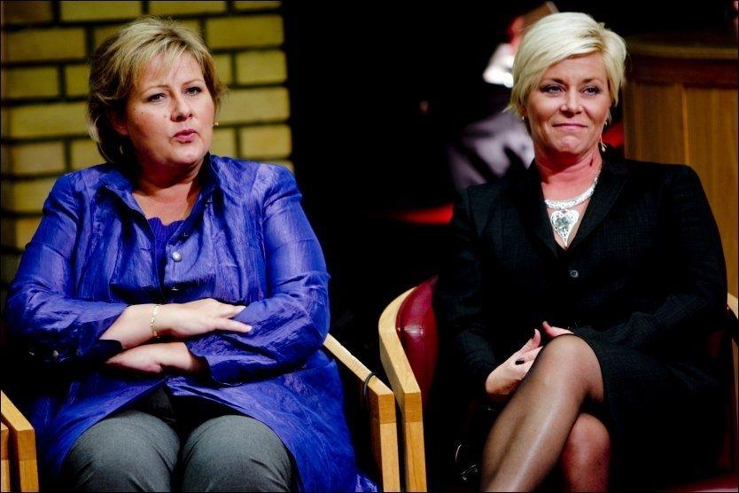 SAMARBEID: Frp-leder Siv Jensen mener det er realistisk at hun og Høyre-leder Erna Solberg kan danne regjering sammen etter valget om fire år. Foto: Stian Lysberg Solum / Scanpix