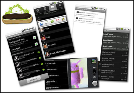 MYE NYTT: Her ser du noe av det som er nytt i Android 2.0. (Foto: Google)