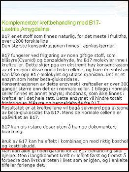 ENDRET NETTSIDER: Kilden helse endret informasjonen om B17 etter at de ble konfrontert med opplysningene av VG Nett. Dette sto før endringen. Foto: Skjermdump Kilden Helse