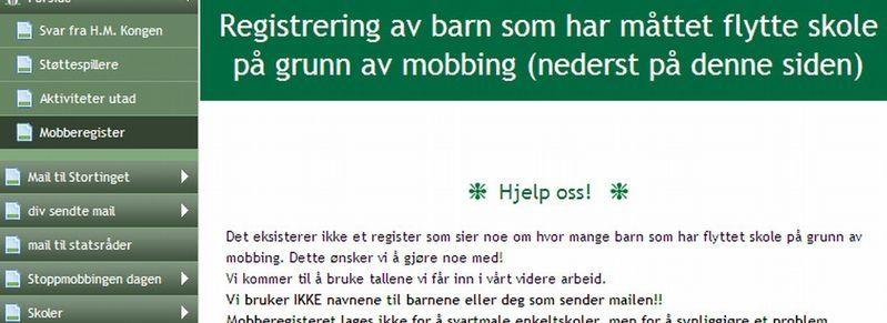 MOBBEREGISTER: Mobberegisteret lages for å synliggjøre et problem, sier mobbekampanjen «Stopp mobbingen». Registeret har vakt stor oppsikt. Foto: stoppmobbingen.net