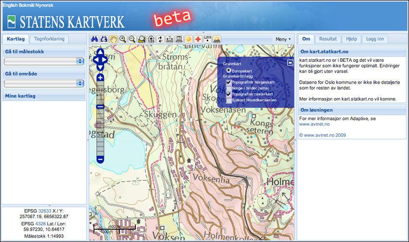 DETALJERT: Superdetaljerte kart som dette kan du snart bruke på din egen blogg eller nettside, gratis. Foto: Skjermbilde