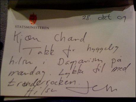 BREV FRA JENS: Her er hilsenen til Chand fra statsminister Jens Stoltenberg Foto: Privat
