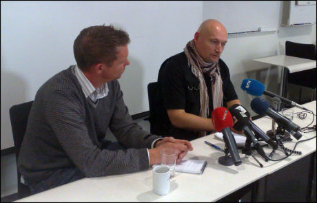 MØTTE PRESSEN: Pål Refsdal (t.h.) og Kjetil Johnsen i Novemberfilm. Foto: Roar Dalmo Moltubak