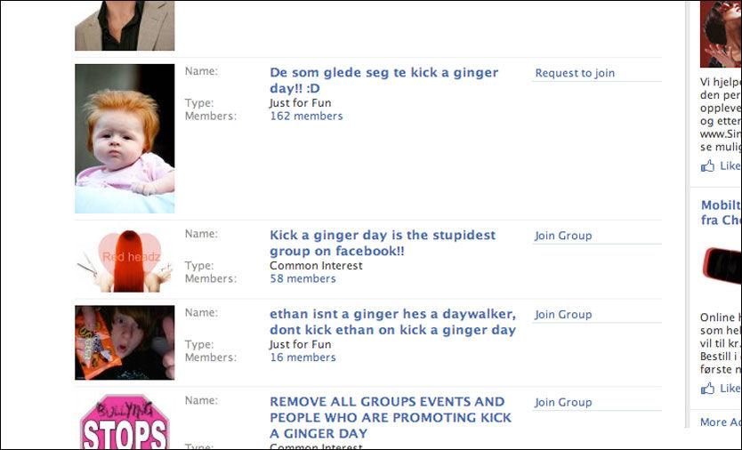 NORSK GRUPPE: På Facebook har grupper mot fenomenet dukket opp og dominerer bildet. Men midt i blant dem finnes en norsktalende gruppe der det ble oppfordret til vold mot rødhårede. Foto: Skjermbilde