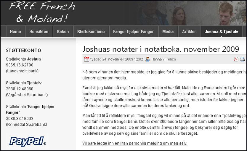FORSVARSSKRIFT: På en hjemmeside opprettet av de pårørende til Joshua French og Tjostolv Moland har French publisert et eget forsvarsskrift. Foto: Skjermbilde