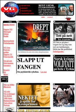 MAI 1997: Slik så siden ut for 12 år siden med VG Nett-logo over jordkloden og ingen topp-gif. Foto: Skjermdump