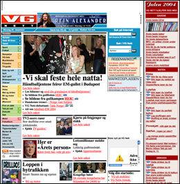 DESEMBER 2004: Slik så VG Nett ut for fem år siden, og har til nå ikke gjennomgått store forandringer utseendemessig. Foto: Skjermdump