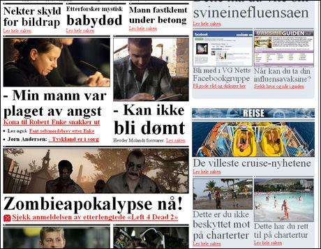 BREDERE: De gode sakene får mer plass på den nye forsiden. VG Nett skal fortsatt gjenkjennes med Times-fonter og sorte skillelinjer. Foto: Skjermdump