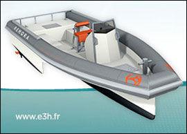 I PARIS NÅ: Slik ser den elektriske båten ut som blir vist under utstillingen i Paris. Foto: Produsent