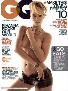 TOPPLØS: Slik poserer Rihanna på coveret til GQ for noen uker siden, der hun også snakket ut om forholdet til eksen Chris Brown. Foto: Faksimile: GQ