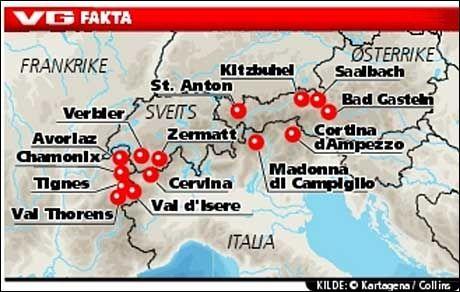 PÅ KARTET: Dette kartet viser hvor de forskjellige alpestedene i teksten ligger. Foto: Grafikk: VG