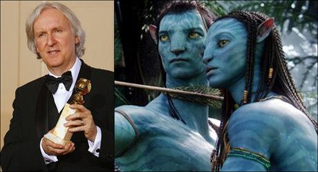 TIL TOPPS: Regissør James Cameron vant pris for beste film og beste regi med publikumssuksessen «Avatar». Foto: REUTERS/AP