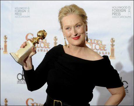 PRISVINNER: Skuespillerveteranen Meryl Streep tok hjem en Golden Globe-pris for sjuende gang i sin karriere. Det er rekord. Foto: EPA