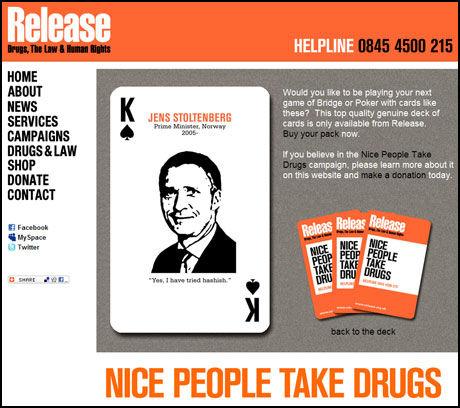 NARKOKORT: Statsminister Jens Stoltenberg er spar konge i narkokampanjen «Nice people take drugs». Faksimile: release.org.uk