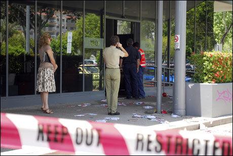 SKADET: Minst 15 personer ble skadet i bombeeksplosjonen. Fem av dem ligger på intensivavdelingen ved Royal Darwin Hospital. Foto: REUTERS