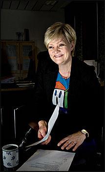 ANTIMOBBE-MINISTER: Kunnskapsminister Kristin Halvorsen var glad for engasjementet rundt mobbing og starter tilsyn for å få skolene til å følge loven rundt dette skikkelig. Foto: Robert S. Eik