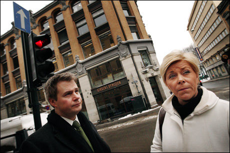 REFSER BYMISJONEN: Frp-leder Siv Jensen og partikollega Per-Willy Amundsen vil endre loven for å hindre at Kirkens Bymisjon hjelper syke, illegale innvandrere. Foto: Espen Sjølingstad Hoen