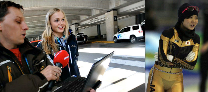 FRISKT: Hege Bøkko syntes det var et morsomt stunt av Takagi. Her blir hun vist bildet av VG Nett-journalist Klaus Eriksen. Foto: Bjørn S. Delebekk