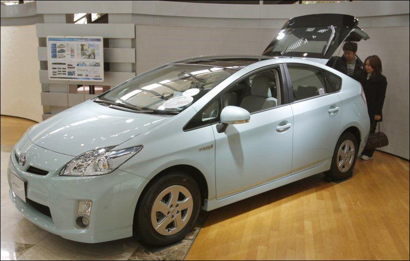 BREMSEFEIL: Denne Prius-modellen står utstilt på Toyota-museet i Japan. Bilmodellen har problemer med bremsene, og blir nå tilbakekalt. Foto: AP