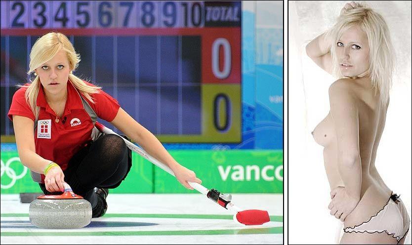 MISS JANUAR: Til venstre er Madeleine Dupont i aksjon under OL i Vancouver. Til høyre har hun kastet klærne for å få oppmerksomhet rundt curlingsporten. Foto: AFP/www.anaarce.com