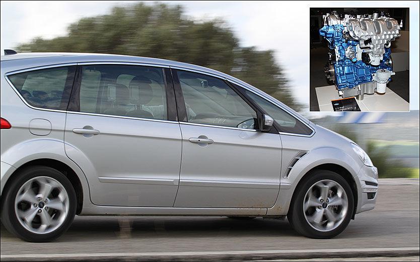 DOWNSIZED: Nye Ford S-Max, som har gjennomgått en facelift, har også fått ny bensinmotor, som skal konkurrere bedre mot dieselmotorene. Foto: Hanne Hattrem