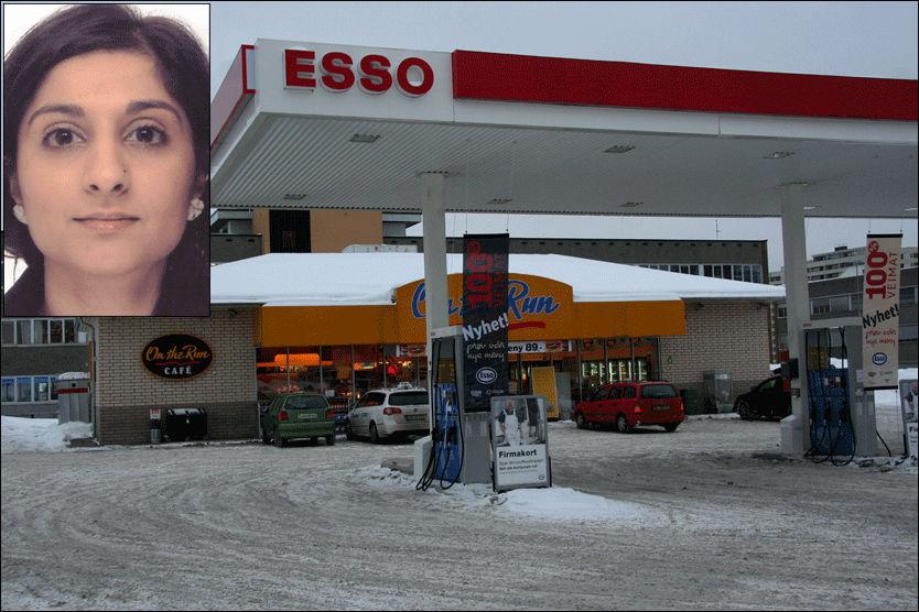 BLE KJENT HER: Den siktede 25-åringen jobbet som nattevakt ved denne Esso-stasjonen, mens den 28-årige taxisjåføren ofte var innom. Slik ble de kjent. Foto: Jarle Brenna/Politiet