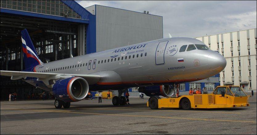 STORT FLY: Det var et fly av denne typen, en Airbus A320 fra selskapet Aeroflot, som tok av på feil bane på Gardermoen. Foto: Itar-Tass, Scanpix