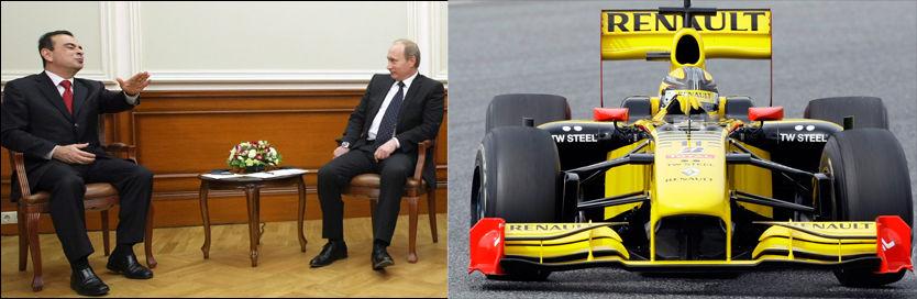 HER SKAL DET STÅ «LADA»: Renault-sjef Carlos Ghosn og Russlands statsminister Vladimir Putin er enige. Foto: Reuters / EPA