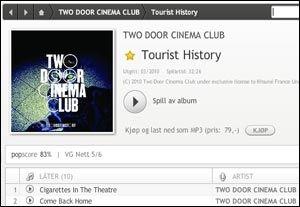Wimp har mange fine funksjoner. Her en skjermdump av albumvisning, hvor man kan spille av musikk, lagre den i favoritter, kjøpe og se hvor god kritikk musikken har fått. Foto: Skjermdump: Kirsti Østvang