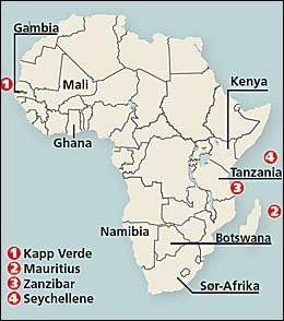 STEDENE: Dette kartet viser stedene som er omtalt i saken om reisemål i Afrika. Foto: VG