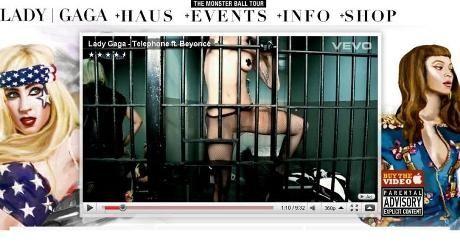 TAR DEN HELT UT: Lady Gaga sparer ikke på kruttet i sin nye musikkvideo «Telephone». Faksimile: ladygaga.com