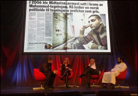 MØTTE JOURNALISTENE: Arfan Bhatti fortalte at han ikke hadde trodd Muhammed-tegningen skulle trykkes i Dagbladet. Foto: Roar Dalmo Moltubak.