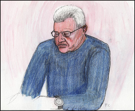 RETTSSAKEN SNART OVER: Nå gjenstår kun prosedyrene i rettssaken mot Erik Andersen i Follo tingrett. Tegning: Pablo Castro/Scanpix