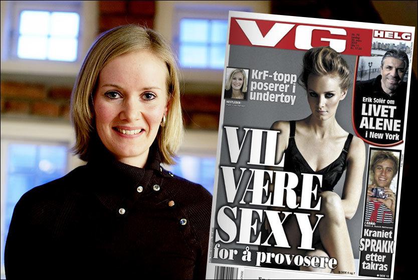 POSERER I DET NYE: I lørdagens VG kan du se bilder av Krf-nestleder Inger Lise Hansen slik du ikke er vant til å se henne. Foto: SCANPIX/VG-faksimile