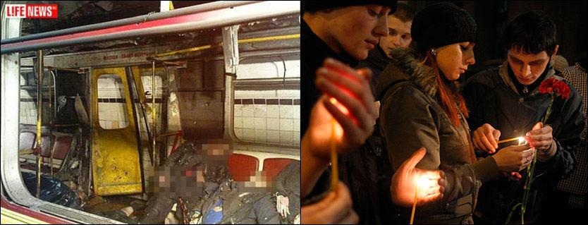 MINNESTUND: Mennesker tenner lys for ofrene for metrobombingen i Moskva mandag. Minst 38 mennesker ble drept i terrorangrepet. Foto: AP/Life News