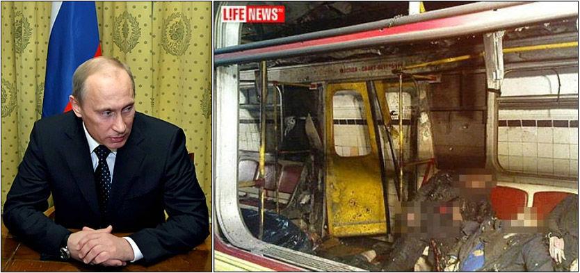 TERROR: Bildene fra metroen i Moskva vitner om de forferdelige scenene som utspant seg etter at bombene gikk av mandag morgen. Statsminister Putin sier at terroristene skal knuses. Foto: AFP/AP/Life News