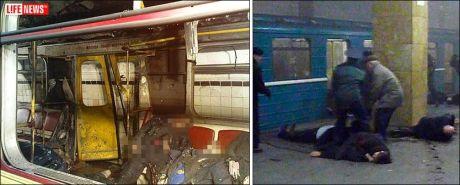 TERROR: Bildene fra metroen i Moskva vitner om de forferdelige scenene som utspant seg etter at bombene gikk av mandag morgen. Foto: AP/Life News