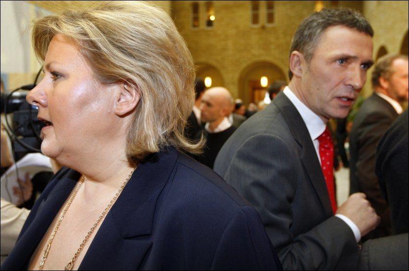 PASSERTE JENS: Erna Solberg har mer tillit blant folket enn statsminister Jens Stoltenberg viser en ny måling utført av Infact på oppdrag fra VG. Foto: Scanpix