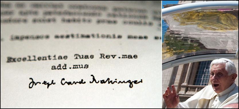 SKAPER STORM: Dette brevet underskrevet av kardinal Joseph Ratzinger, nå pave Benedict, skaper mer trøbbel for paven. Foto: AP, AFP