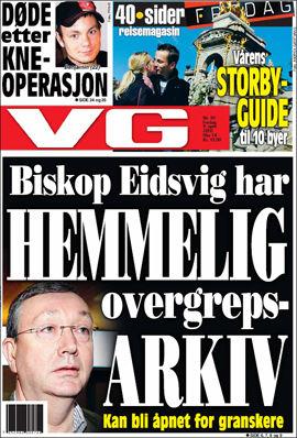 AVSLØRING: Biskop Bernt Eidsvig lettet på sløret i dagens VG, og fortalte om det hemmelige overgrepsarkivet. Faksimile: VG