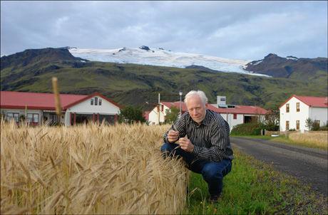 FRYKTER FOR LEVEBRØDET: Norsk-islandske Ólafur Eggertsson har 200 kyr på gården som nå er truet av den buldrende vulkanen. Han frykter aske kan ødelegge beitemarken rundt gården. Foto: Privat
