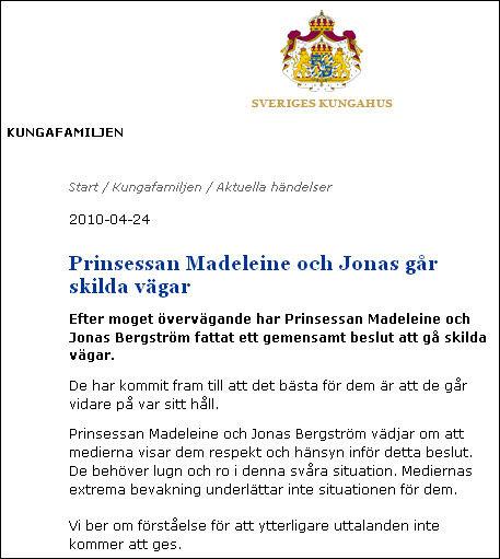 BRYTER: Prinsesse Madeleine og Jonas Bergström bryter forlovelsen, oppgir det svenske kongehuset på sine hjemmesider. Foto: Faksimile fra Royalcourt.se