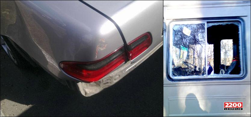 SKADER: Både en drosje og russebussen ble skadet etter konflikten mellom drosjesjåfører og russ i Sandvika. Foto: VG Nett-tipser