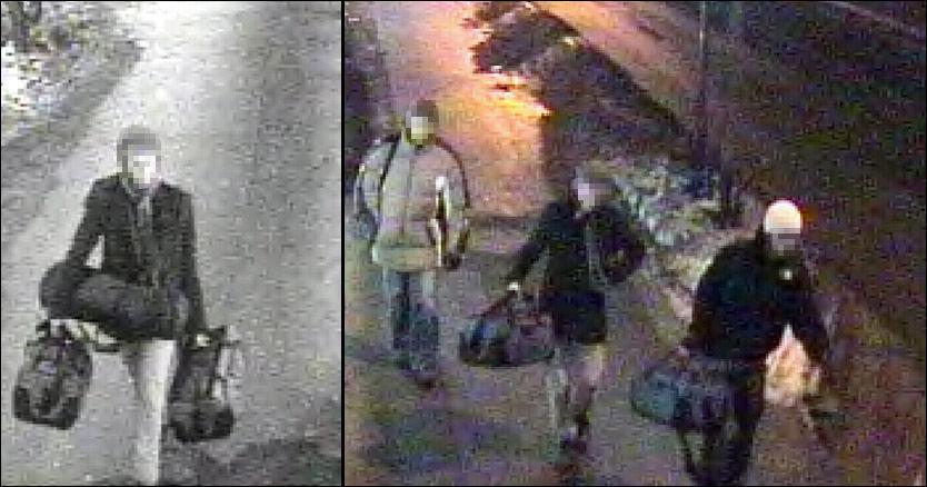 BARE SKOLEELEVER: Bildet til venstre viser angivelig skoleeleven da han er på vei til konserten med kamerautstyret. Bildet til høyre viser den samme mannen og to nye menn, med de samme bagene. Foto: Politiet