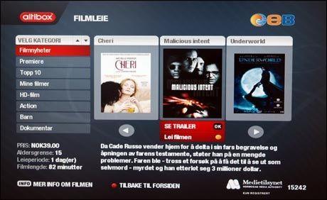 Altibox tilbyr filmleie, både i standardoppløsning og HD. Prisene for en del filmer blir imidlertid i høyeste laget, spesielt for HD. Foto: PC World. Foto: PC World.