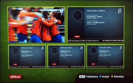 Det er mye ekstrafunksjonalitet knyttet til fotballsendinger, og gjennom et nyannonsert samarbeid med TV2 sier Altibox det skal bli mer. Under serierunder kan man også se bilder fra flere kamper samtidig. Foto: PC World. Foto: PC World.